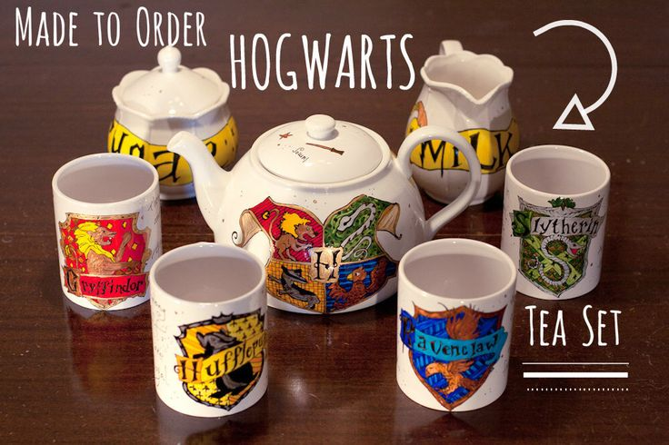 Made to Order Hogwarts Tea Set - You choose the complexity - Hand painted, every set is unique - Harry Potter Tea Set by OpheliasGypsyCaravan on Etsy https://www.etsy.com/ca/listing/234885907/made-to-order-hogwarts-tea-set-you