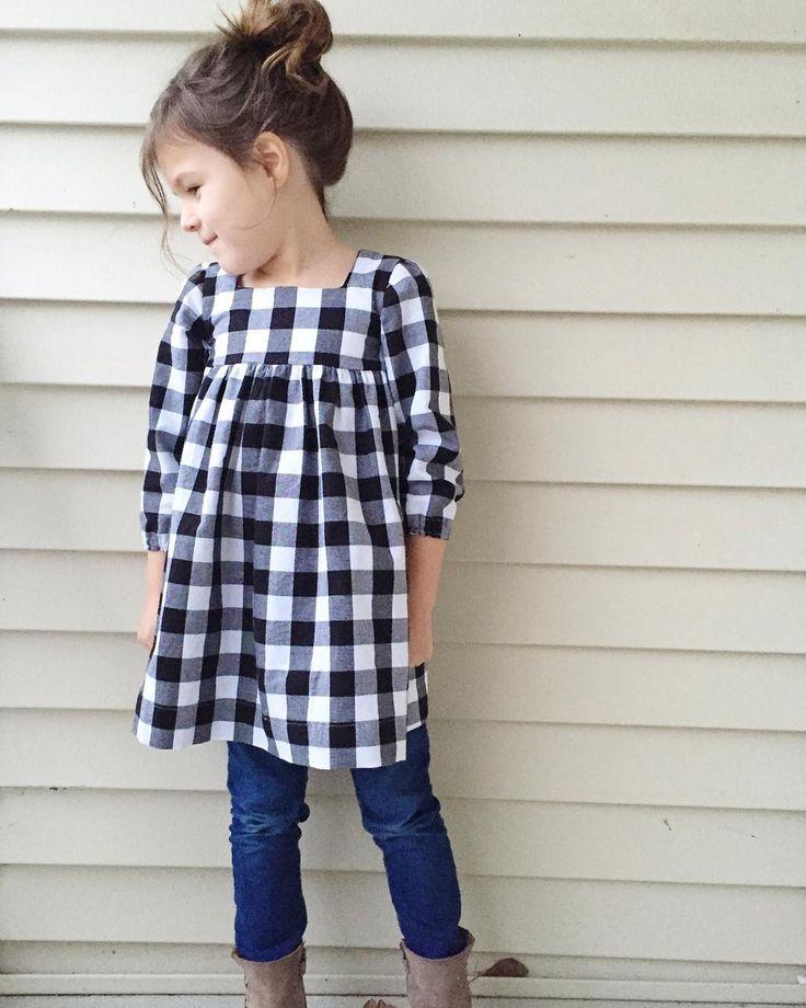 Square neck #geraniumdress + sleeves, tunic length in Kaufman Carolina gingham