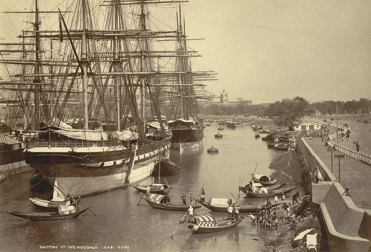 Bourne and Shepherd, 1890. Photograph of shipping on the Hooghly, from the Elgin Collection: 'Spring Tours 1894-98', taken by Bourne and Shepherd in the 1890s. Square-rigged sailing ships moored in the Hooghly off the Maidan, Calcutta with the High Court visible in the distance to the north. The nearest vessel is the three-masted ship Glengarry of Liverpool