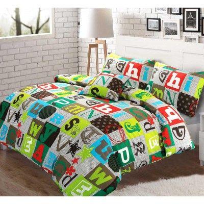 ABC Alphabet 100% Cotton Multi Colour Duvet and Pillow Case Reversible Set