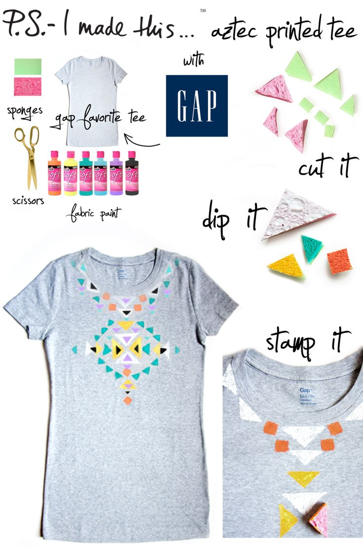 P.S.- I made this... Aztec Printed Tee with GAP  #DIY #PSIMADETHIS #GAP #bebrightSummer Concerts, Diy Fashion, Diy T Shirts, Prints Tees, Aztec Prints, Painting Pattern, Music Festivals, Diy Shirts, Tribal Prints