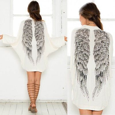 Autumn Back Angel Wings Print Womens Cardigan European Loose Batwing Sleeve Coat Jacket Female Casual Femininas Sweater Alternative Measures