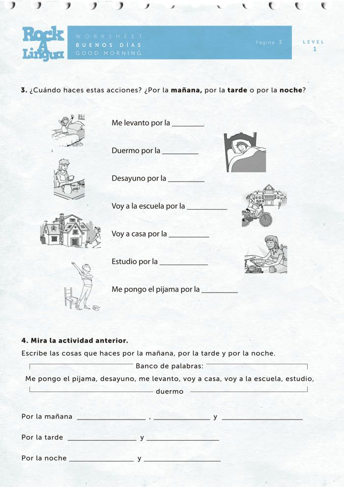 Learning Spanish Worksheets : Best images about rutina y horarios on pinterest
