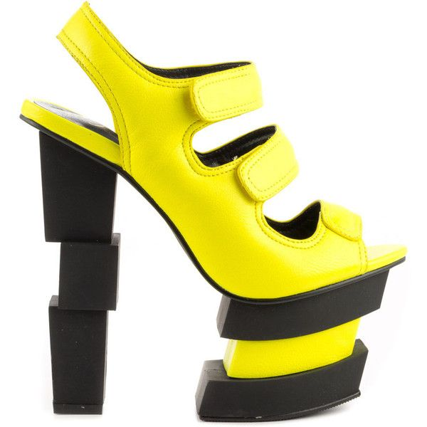 Privileged Women's Journey - Neon Yellow ($122) ❤ liked on Polyvore featuring shoes, sandals, heels, yellow, heeled sandals, platform sandals, privileged shoes, neon yellow shoes and yellow high heel sandals
