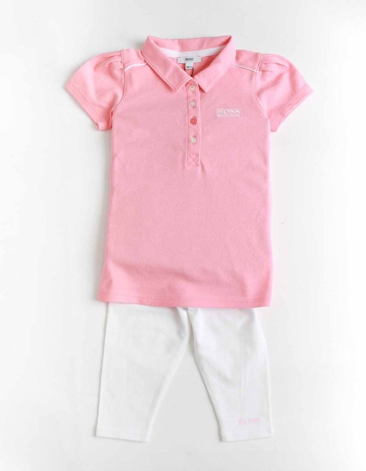 Boss Pink Embroidered Polo Tunic and Leggings set | Accent Clothing