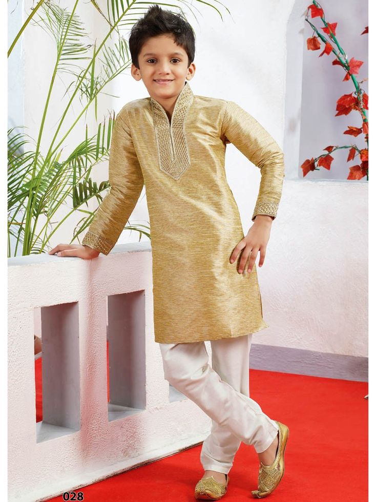 Beige with White Kurta Churidar bottom Readymade Dress for Kids 028SIKD