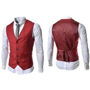 Gilet Hommes Slim Fit Costume de mariage Vest r... rouge - Achat / Vente gilet de costume - Soldes* d'hiver dès le 6 janvier Cdiscount