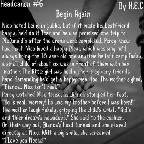 Head Canon #6 By H.E.C - - >WHY?? MY FEELS!<- - Nico and Bianca... Oh My goodness I am crying now, gee thanks. { Percy Jackson and the Olympians - Heroes of Olympus }