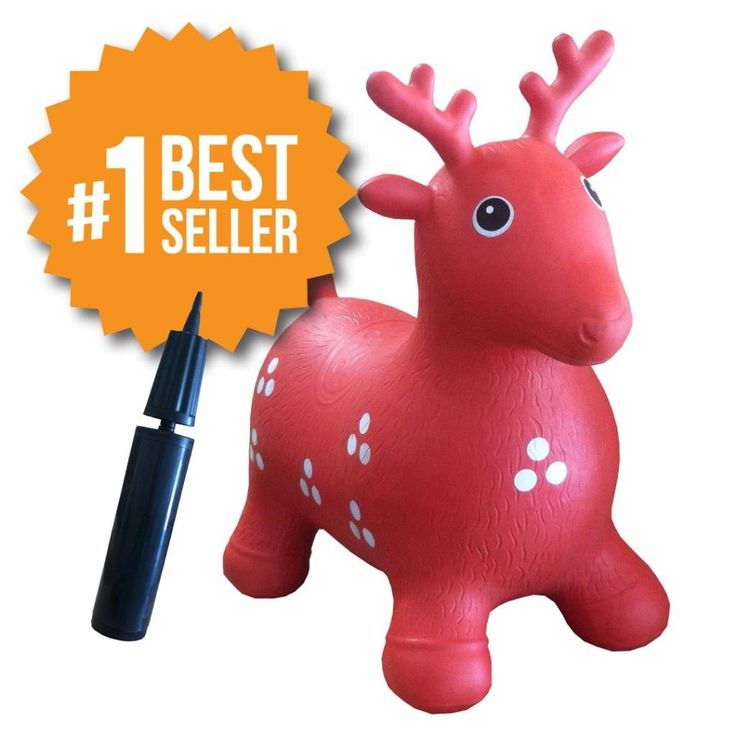 Inflatable Hopper - Rated #1 and Cutest Bouncy Seat for kids on Amazon. Ruffio the Animal Deer Comes with a Free Pump and Bonuses, Red