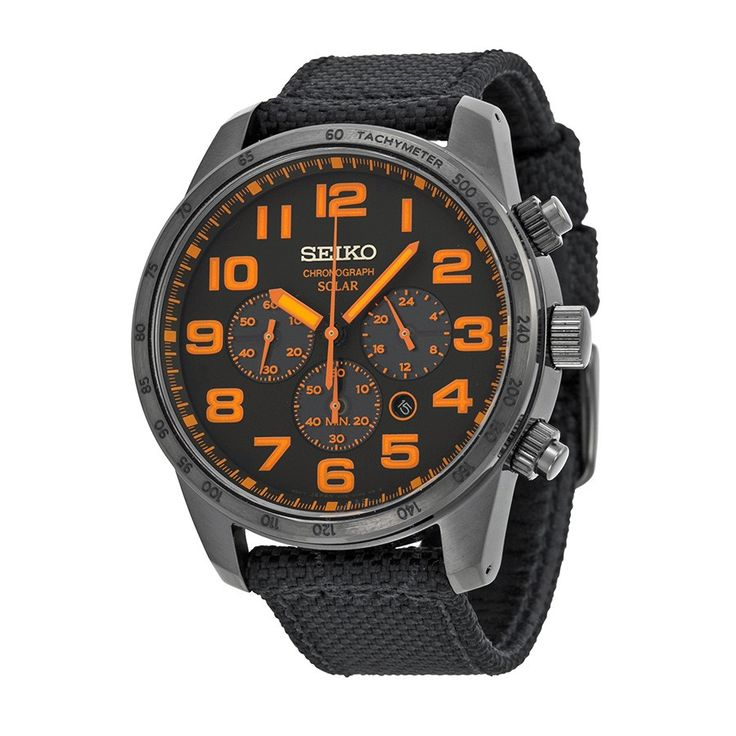 Seiko Sport Solar Chronograph Black and Orange Dial Men's Watch SSC233 - Solar - Seiko - Watches  - Jomashop