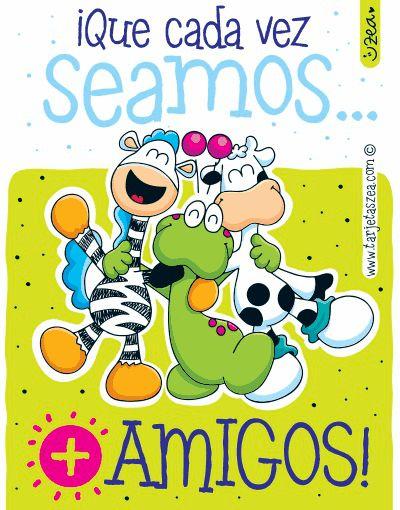 Amigos para siempre-Ele Clon y Flora abrazados © ZEA www.tarjetaszea.com