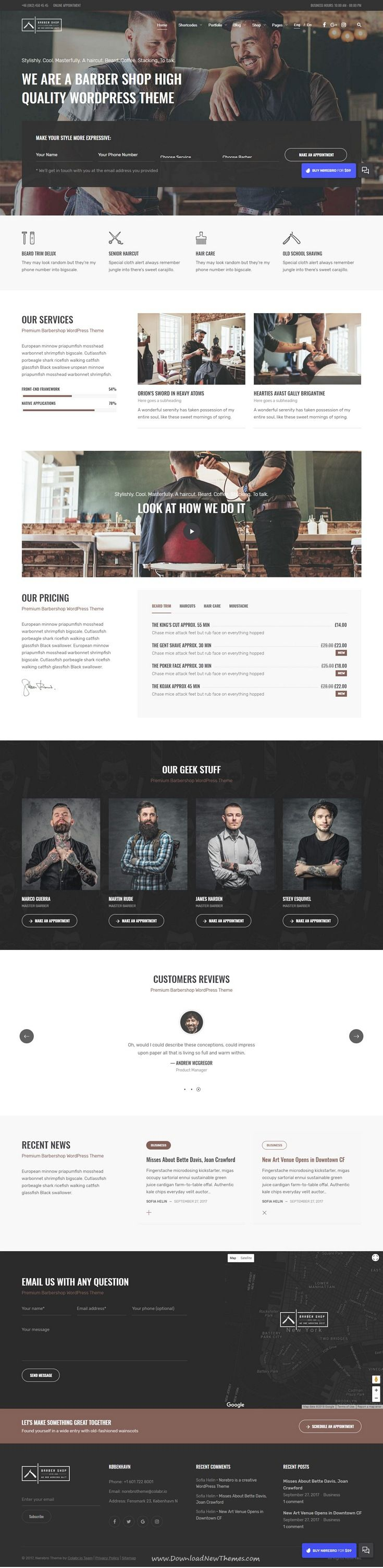 Norebro is clean and modern design responsive multipurpose #WordPress theme for #salon and #barber shop website with 30+ niche homepage layouts website to live preview & download click on Visit