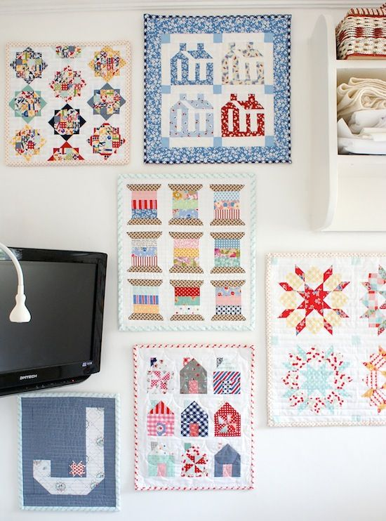 Oh, Another Mini Quilt* Messy Jesse's sewing room is so cozy!  There's even a fireplace.