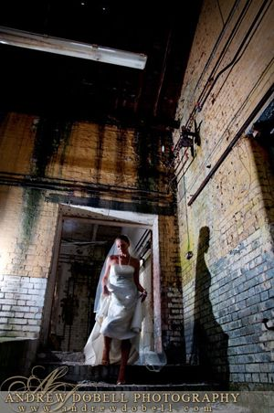 trash the dress - door, brick and shadow.