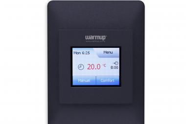 """Warmup's """"All-in-one"""" clock thermostat for electric underfloor heating provides optimal comfort temperature and the lowest possible energy consumption. Features include colour touch screen, energy monitoring, easy-touch menu navigation and a user friendly interface. Call 0800 WARMUP for more information."""