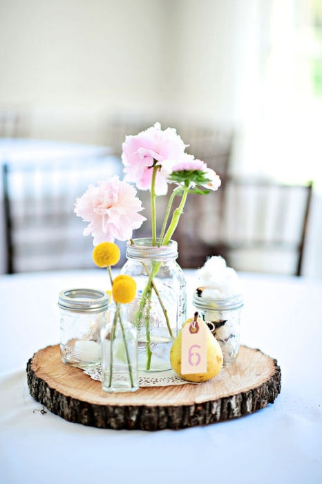 DIY Nature Inspired Wedding Centerpieces - via Rustic Fort George Wedding, Style Me Pretty