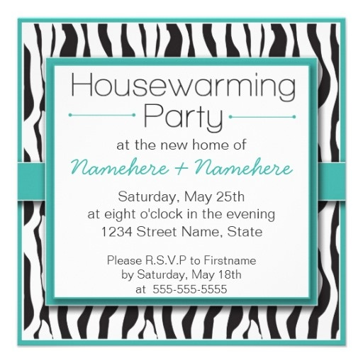 Adorable Teal Zebra Print Housewarming Party Invitations