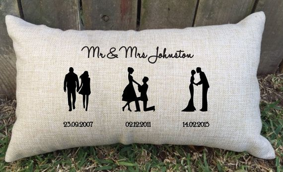 Wedding Anniversary Gifts For Couples: SILHOUETTE TIMELINE Couples Pillow Perfect For Bridal
