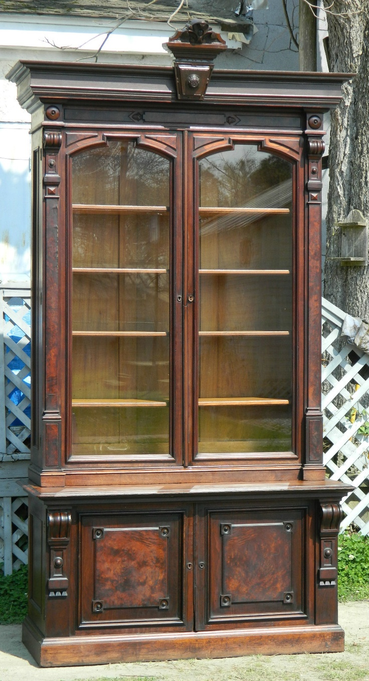 Victorian Walnut Bookcase ca. 1860 Fantastic Walnut and Burl Victorian Bookcase Signed G Herter New York circa 1860