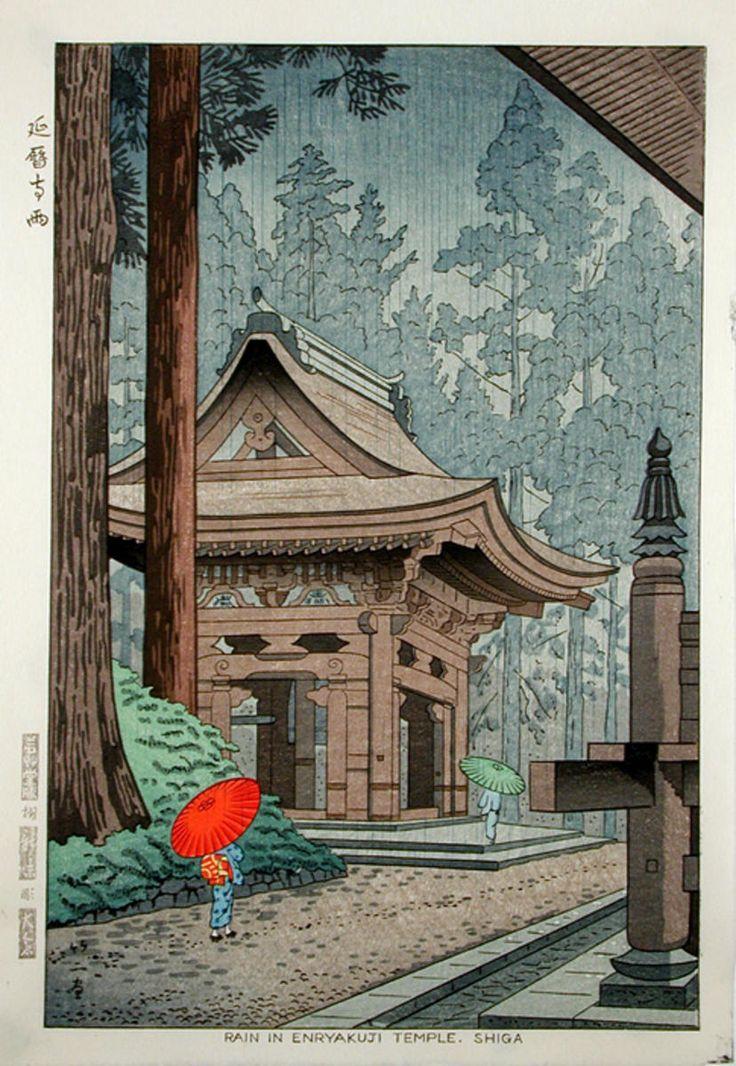 Asano Takeji -  Rain in Enryakuji Temple