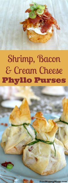 Want an amazing appetizer for your next party? These shrimp, bacon and cream cheese phyllo purses are the perfect party food!