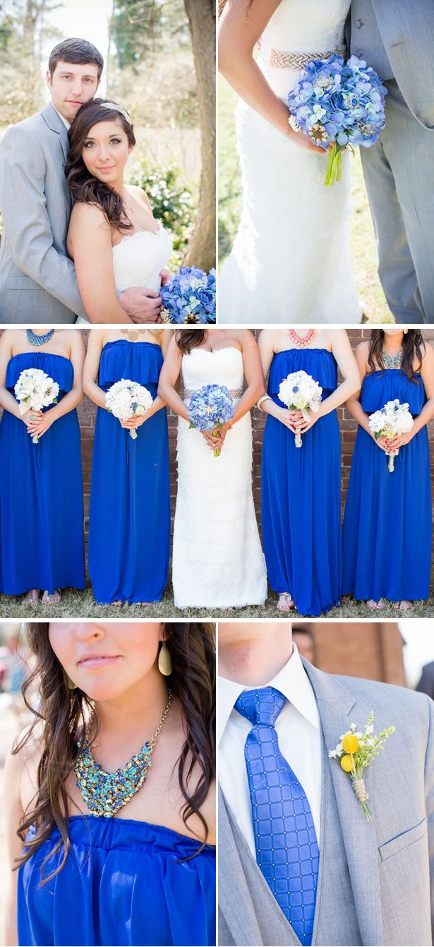 This is exactly the idea I'm going for. Cobalt blue bridesmaid dresses with white flowers, colored flowers for me, and they guys in gray with a blue tie!