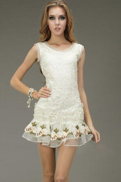 İşlemeli Kayısı Elbise Out Hollowed