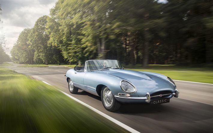 Download imagens Jaguar E-Type Zero, Conceito, 2017, novos carros antigos, estrada, velocidade, Inglês carros, Jaguar