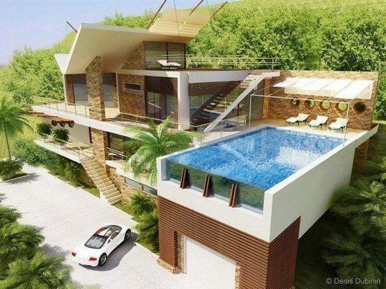 4 andares, com piscina no segundo piso, acima da garagem.