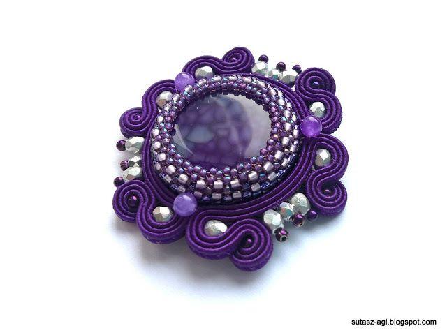 Purple soutache brooch