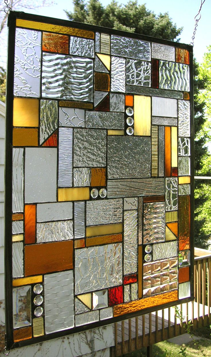 """Mission Style Clear, Amber & Red- 18"""" x 24""""--Stained Glass Window Panel"""