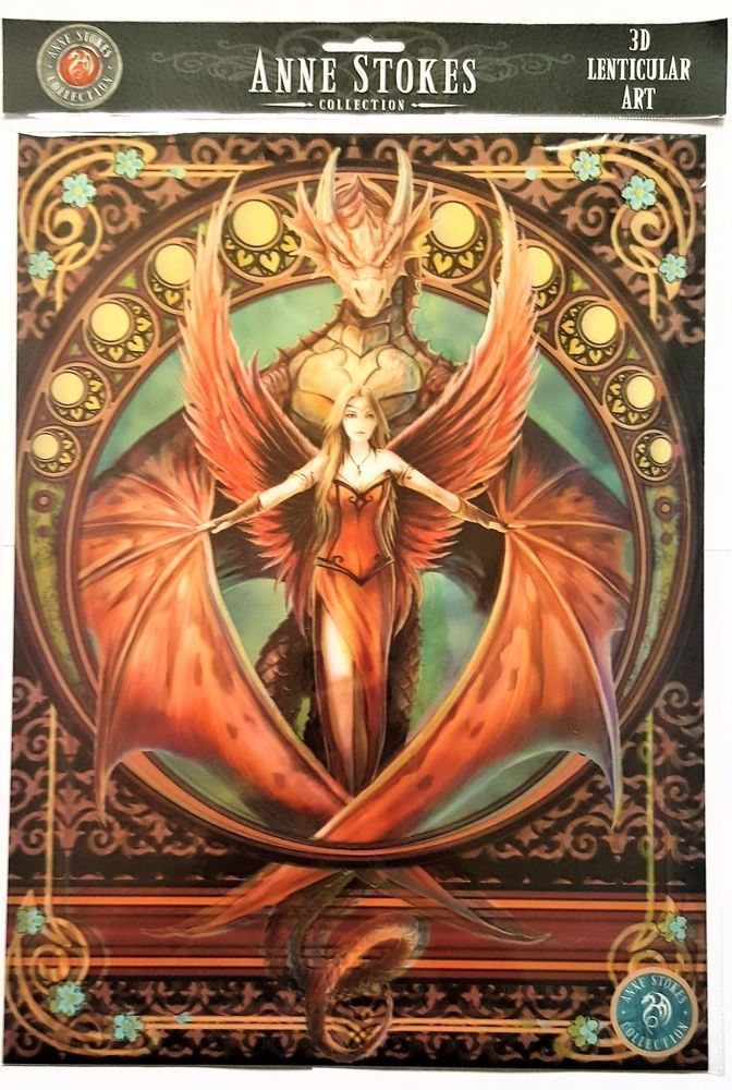 Brand New Licensed 3D Lenticular Anne Stokes Copperwing Dragon Print #AnneStokes