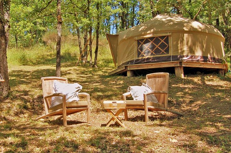 Guests are invited to cook in an outdoor kitchen, shower amid the trees, and take a dip in the property's pond. From $162/night; lecamp.co.uk