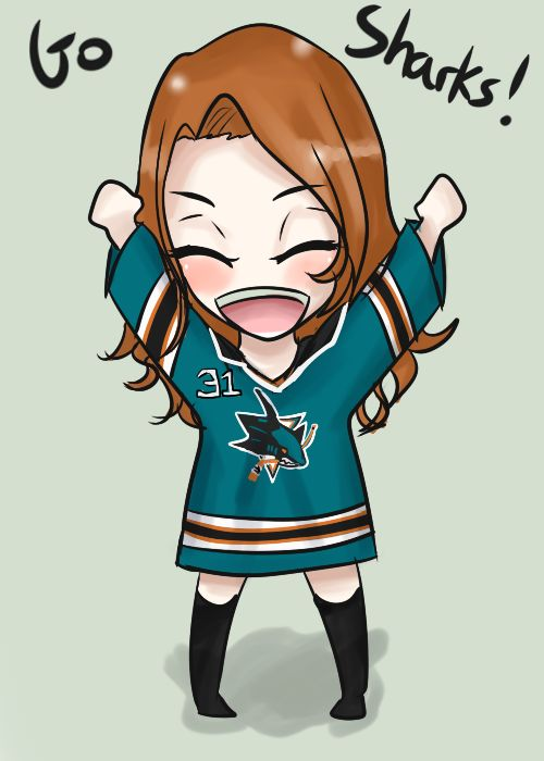 Needed a new ID, so I thought to get into the spirit of the up coming ice hockey season, I shall draw me in my team jersey Good luck San Jose Sharks!
