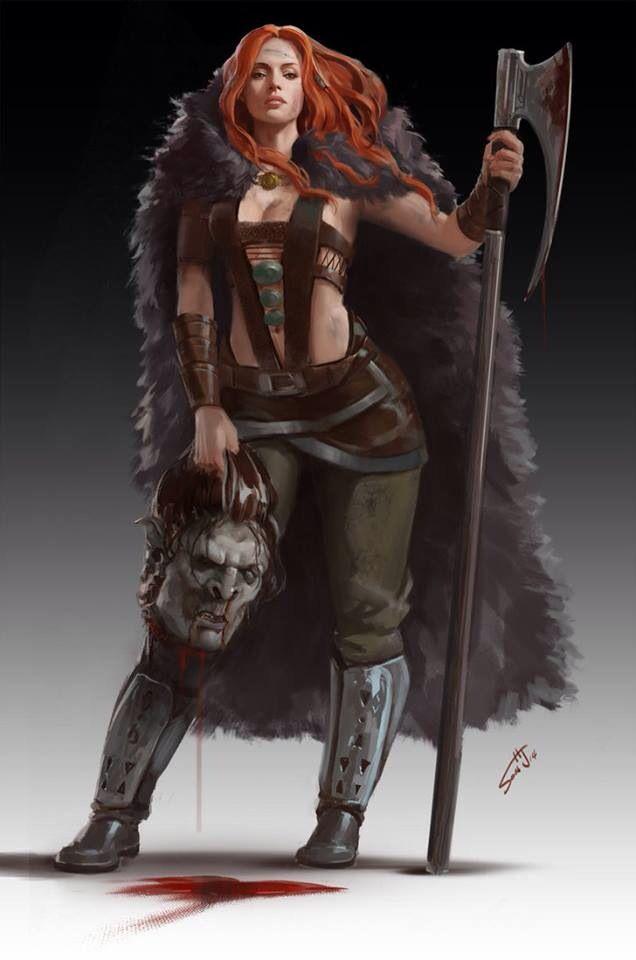 f Barbarian battle axe Orc head