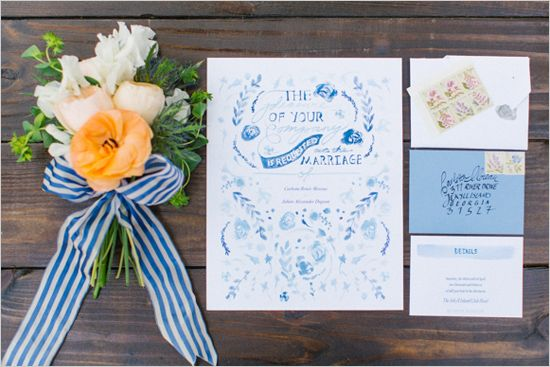 blue wedding invite