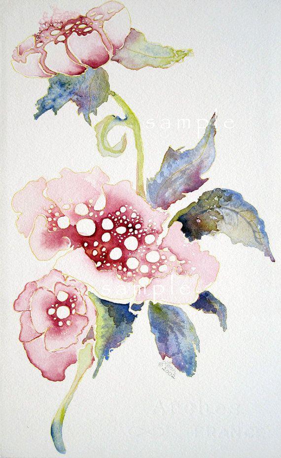 pink poppi Fine Art Flower Portrait watercolor print by lizdezign