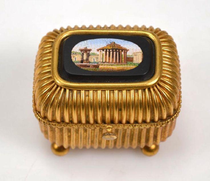 Italian Grand Tour Micromosaic Inset Jewel Box