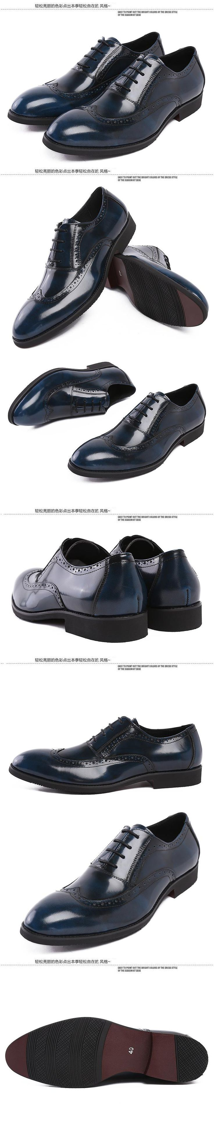 2015 new spring and autumn full grain patent genuine leather Men's Business Casual Pointed toe Bullock Carved fashion oxfords