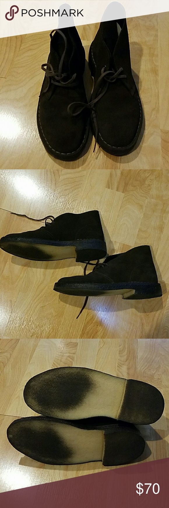 Clarks Dark Brown Chukkas Boots Dark brown Clarks chukkas in the style Desertboot. In great condition! Box included. Size 6. Color is a dark brown. Clarks are unisex but these are the men size! Clarks Shoes Chukka Boots