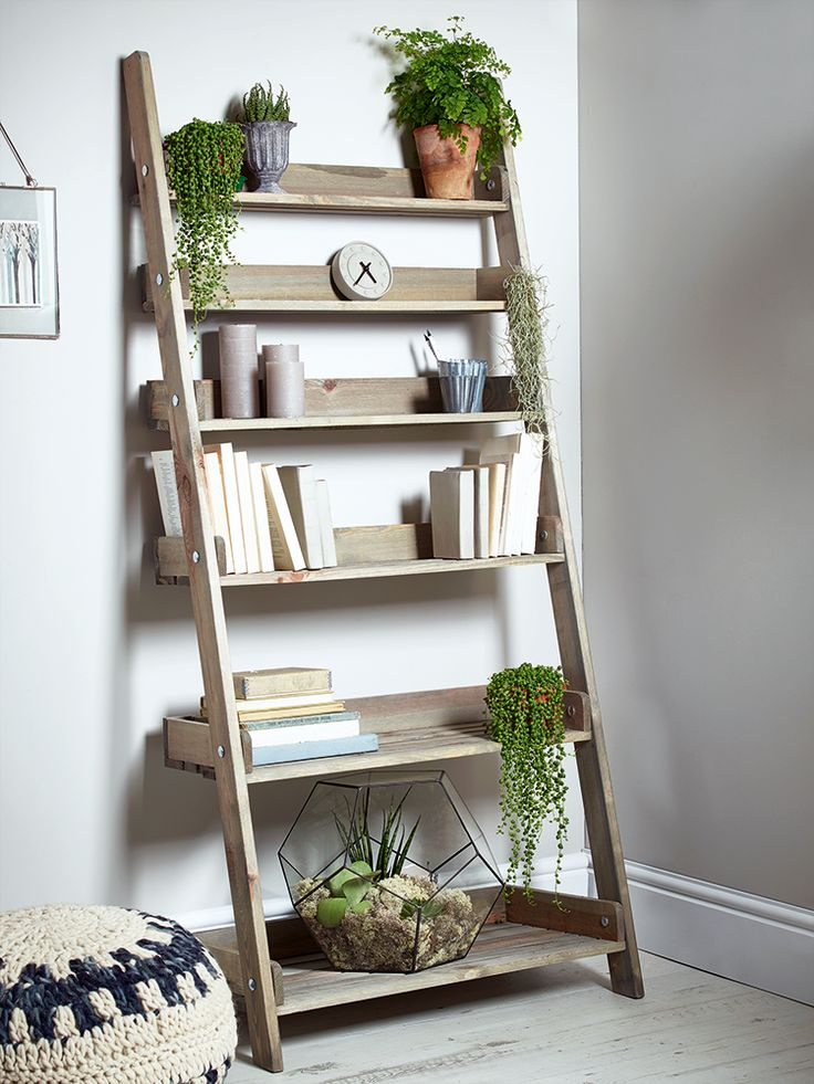 NEW Rustic Wooden Ladder Shelf - Wide - Storage - Furniture