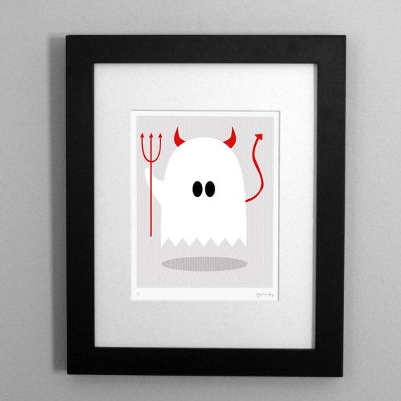 Ghost in a Devil Costume Art Print