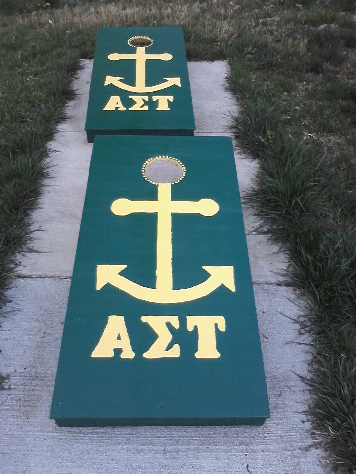 Corn hole and Alpha Sigma Tau...is there anything better?!