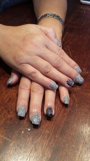 Grey black and zebra nails