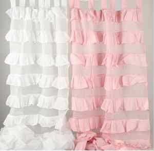 shabby chic nursery | ... Ruffle TAB TOP Curtain Pair Girls Shabby Chic Nursery Decor | eBayLOVELOVELOVE these ruffles :)