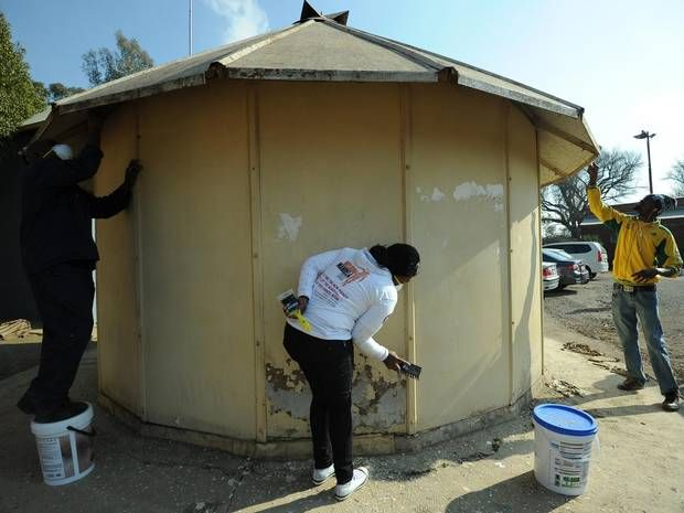 Government office workers clean houses at a drug rehabilitation center for - The Independent