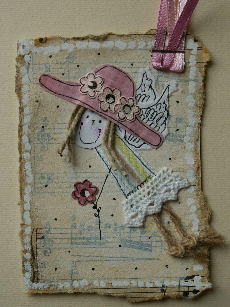 ATC_anioł w kapeluszu | by kasiorka_na_flickrze