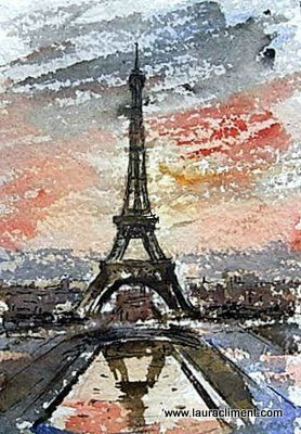 LAURA CLIMENT. Paris. Tour Eiffel.Watercolor. Acuarela
