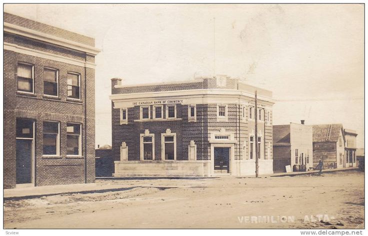 RP: Main Street (dirt) , at The Canadian Bank of Commerce , VERMILION , Alberta , Canada , PU-1920 Item number: 206685082 SCVIEW - Delcampe.com