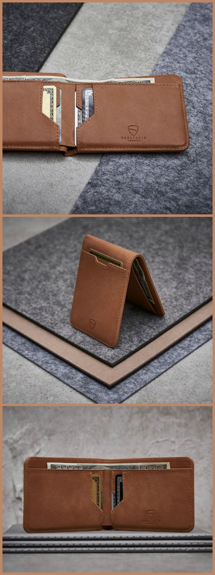 The Vaultskin Manhattan slim bi-fold's intuitive layout displays all of your cards when it's open it so you don't need to dig around for them.